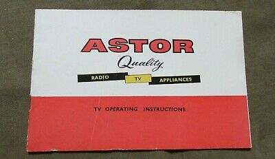 Circa 1970's Astor Quality Radio TV Appliances TV Operating Instructions Booklet