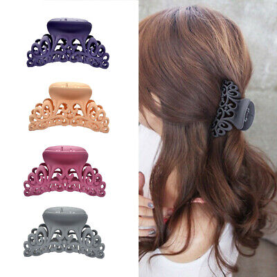 Ladies Womens Large Hair Clip Claw Barrette Crab Clamp Scrub Plastic Hollow
