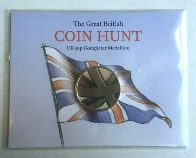 Sealed UK The Great British COIN HUNT COMPLETER MEDALLION Fifty Pence 50p