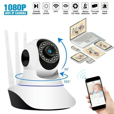 Telecamera Ip Camera Wi-Fi Hd 1080P Wireless Led 3 Antenne Ir Lan Motorizzata