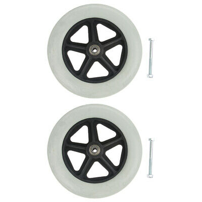 "2x Heavy Duty 8"" Polyurethane Wheelchair Front Wheel Smooth Caster Gray"