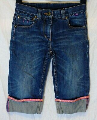 Girls Ted Baker Mid Blue Whiskered Denim Cropped Jeans Long Shorts Age 10 Years