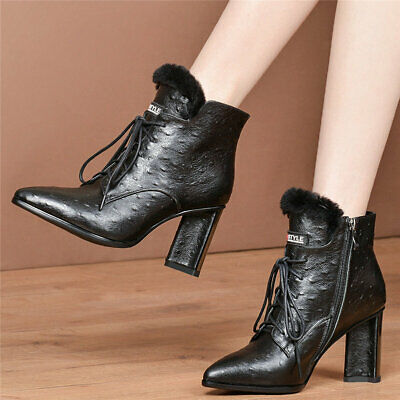 Women's Cow Leather Chunky High Heels Ankle Boots Lace Up Pointed Toe Warm Pumps