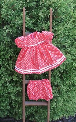 """Handmade Doll Clothes for 18"""" - 20"""" Baby Dolls - """"Always Pretty"""" Red Dress Set"""