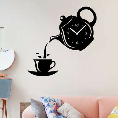 New Wall Clock Coffee Cup Shaped Living Room Decorate Kitchen Clock Applied #HA2