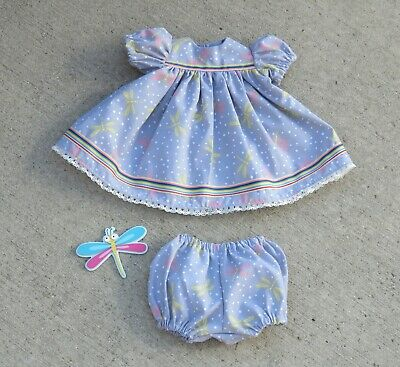 """Handmade Doll Clothes for 18"""" - 20"""" Baby Dolls - """"Dancing Dragonflies"""" Dress Set"""