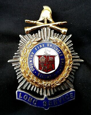 Old Fire Country Fire Brigades Board Victoria Long Service Badge; Silver/Enamels