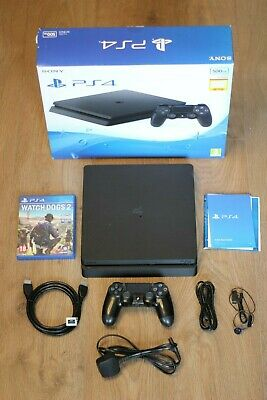 PlayStation 4 PS4 Slim 500GB Black with Accessories, Box and Watch Dogs 2 - USED