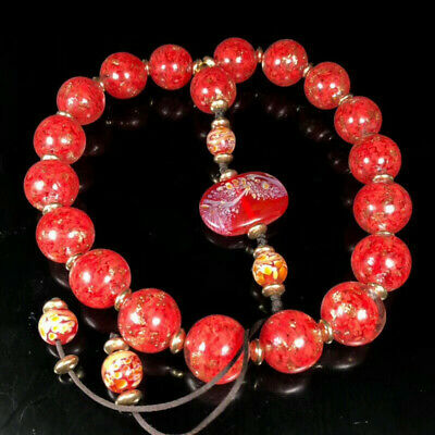 "0.79"" Chinese Exquisite Colored glaze(Liuli)Handmade 18 beads Bracelet"