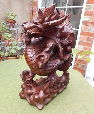 STUNNING LARGE VINTAGE WOODEN CHINESE HAND CARVED DRAGON~HEIGHT 41cm