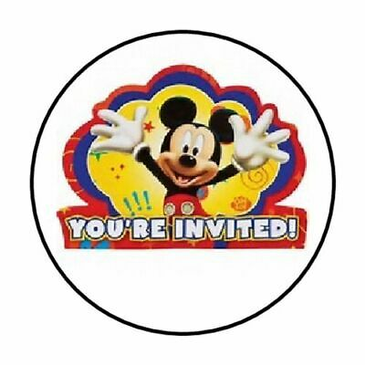 """48 Mickey Mouse Party You're Invited Envelope Seals Labels Stickers 1.2"""" Round"""