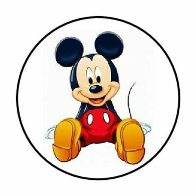 """48 Mickey Mouse Sitting Envelope Seals Labels Stickers 1.2"""" Round"""