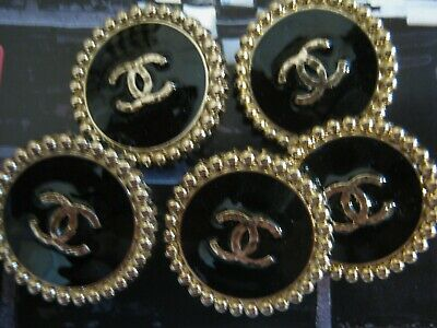 Chanel QUILTED cc buttons BLACK GOLD  24mm lot of 5 good condition
