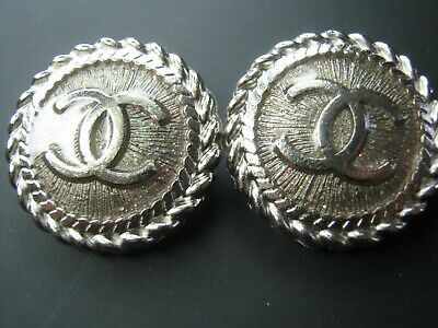 💋💋💋💋💋 Chanel 2 cc buttons silver  16mm lot of 2 good condition💋💋💋💋💋