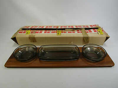 Mid Century Digsmed Denmark Teak & Smoked Glass Snack Condiment Tray Server box