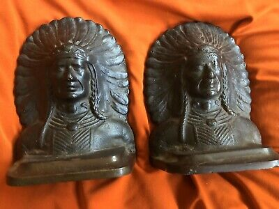 antique bronze cast iron figural native American Indian Chief bookends Exc Cond