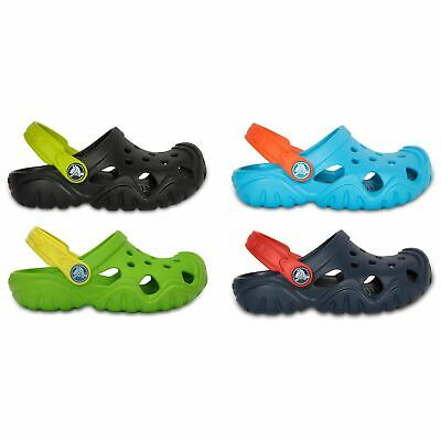 Crocs Kids Swiftwater Roomy Fit Clogs Sandals in  Blue, Black & Green 202607