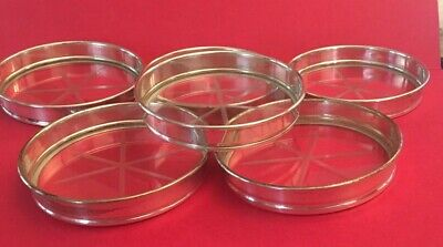 Vintage Sterling and Cut Crystal Coasters Set of 6, very nice!!