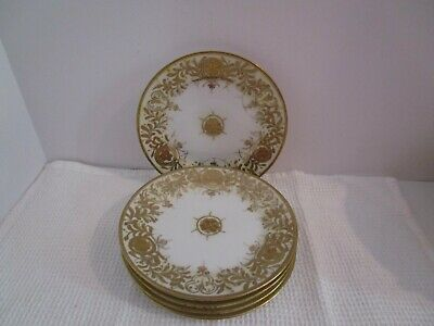 "5 Antique Nippon 6.5"" Hand Painted Gold Moriage Beaded Shamrock Plates"