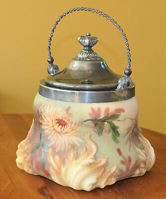 Lovely Antique Mount Washington Art Glass Biscuit Cracker Jar Hand Painted #'d