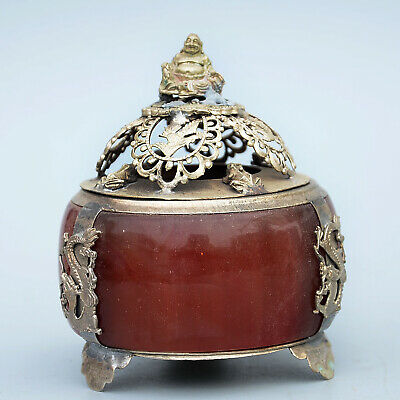 Collectable China Miao Silver Mosaic Jade Hand-Carved Buddha Dragon Noble Censer