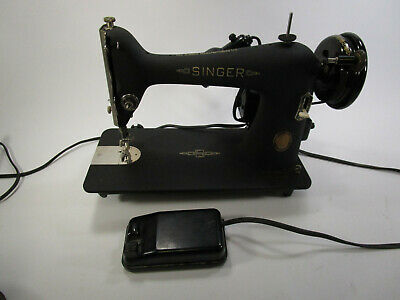 Rare 1951 Singer Sewing Machine with century badge textured mat black finish