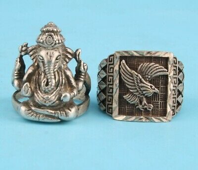 2. Retro Tibetan Silver Hand-Carved Ring With Elephant Trunk Eagle Statue Old