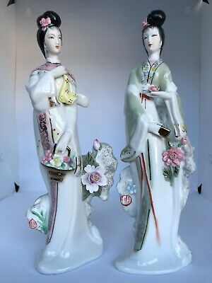 Lot of (2) Vintage Oriental Geisha with Flowers Decorative Porcelain Figurines