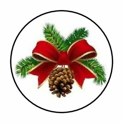"48 Christmas Pine Cone Bow Envelope Seals Labels Stickers 1.2"" Round"