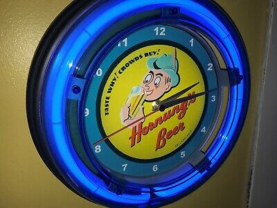 Hornung's Philadelphia Beer Bar Man Cave Blue Neon Advertising Wall Clock Sign