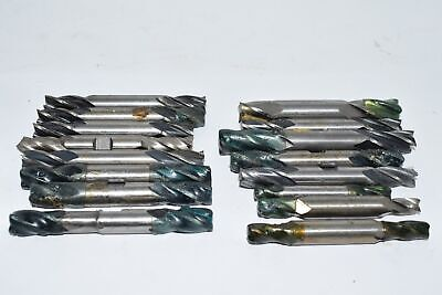 Lot of 16 Double End Mills, Mixed Lot 1/2'' Others