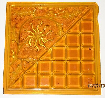 1894 Mosaic Glass Amber Pressed Glass EAPG Addison Floral Geo Window Pane Tile
