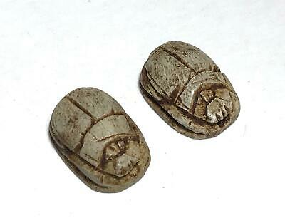 2pc Vintage Egyptian Artifact Figural Mummy King Stone Scarab Beads