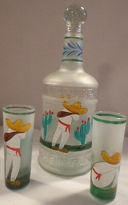 Tequila Shot Serving Set Glass Decanter Bottle 2 Glasses Painted Bar Barware