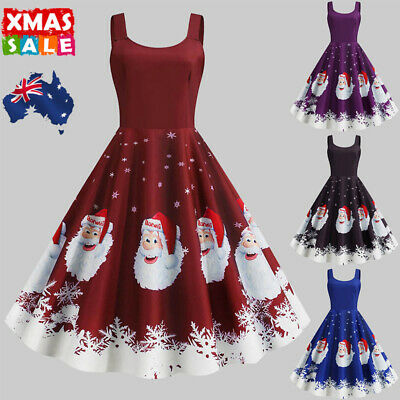 Women Santa Claus Christmas Swing Dress Ladies Sleeveless Ball Gown Party Skater