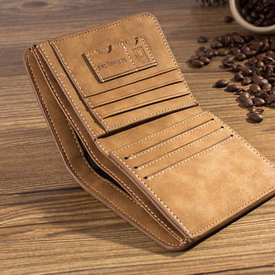 Men's PU Leather Wallet Clutch Trifold Vintage Coin Purse Credit Card Holder