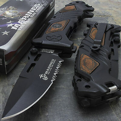 "8.25"" USMC MARINES TACTICAL SPRING ASSISTED COLLECTOR POCKET KNIFE Blade Folding"