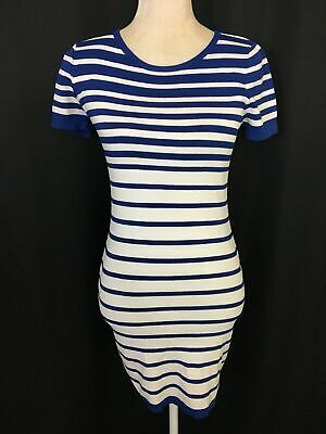 Lucy Paris Womens Cobalt Blue White Striped Short Sleeve Fitted Mini Dress Xs