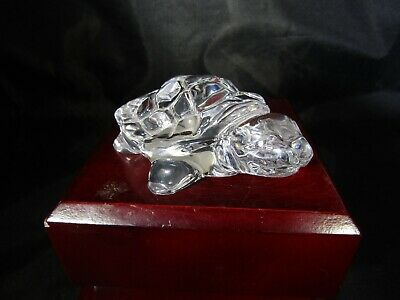 "Vintage Quality Art Glass- Princess House Crystal Turtle Figurine ~3.5"" x 1.25"""