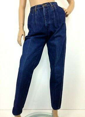 Vintage high waisted mom jeans by Rags pleated front dark blue label USA size 5