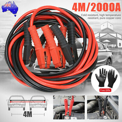 2000AMP 4M Jumper Leads Surge Protected Heavy Duty Car Jump Booster Cable Ghoves