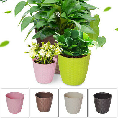 Plant Pot Cover Indoor PP Resin Rattan Flower Cover Round Home Decor Planter UK