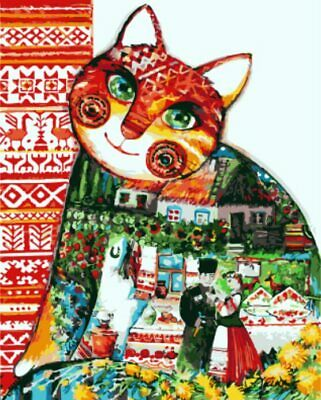 Colorful Cat Frameless Oil Painting By Numbers Canvas DIY Wall Art Home Animals