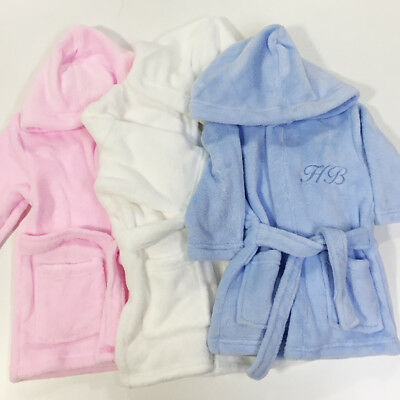 Personalised Baby Robe Bath Embroidered Dressing Gown Initials Gift Monogram