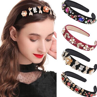 Baroque Lady Girl's Embellished Headband Jewelled Hairband Flower Crown Party