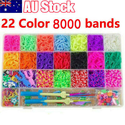 7400pcs Large Rainbow Loom Band Storage case kit Bands Board Hook S-Clips Charms