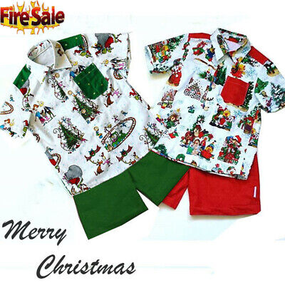 AU Christmas Cartoon Kid Baby Boy T Shirt Top+Shorts Pant Outfit Clothes 1-5Y