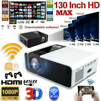 Portable HD 1080P Mini Wifi Bluetooth LED Movie Projector Home Theatre HDMI USB