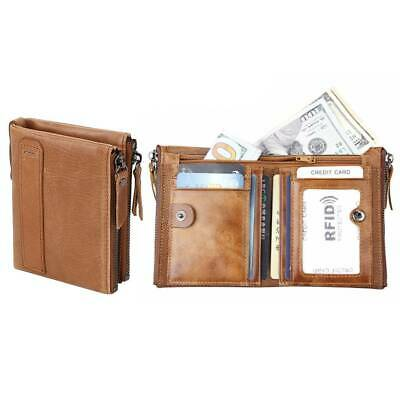 Men Luxury Soft Genuine Leather RFID Blocking Card Wallet Zip Cash Coin Pocket