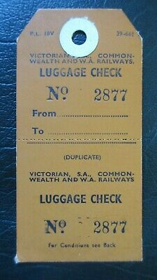 Circa 1970's Luggage Check Tag Victorian, S.A. & Commonwealth And W.A. Railways.